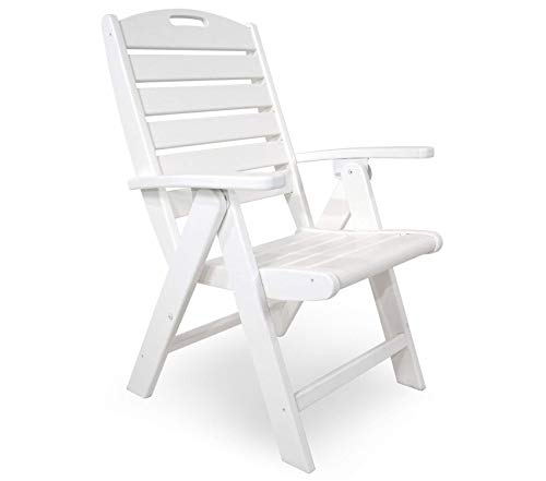 - Trеx Оutdооr Furniturе By Pоlywооd Patio Outdoor Garden Premium Yacht Club Folding Highback Chair, Classic White