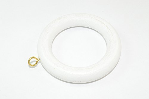 CURTAIN ROD /RAIL RING WITH SCREW EYE WOODEN WHITE ID 40mm Pack Of 24