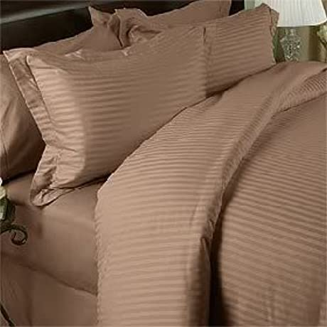 600 Thread Count Double Siberian Goose Down Comforter 650FP 32 38 Oz With 100 Natural Combed Cotton Stripe Damask Cover Taupe