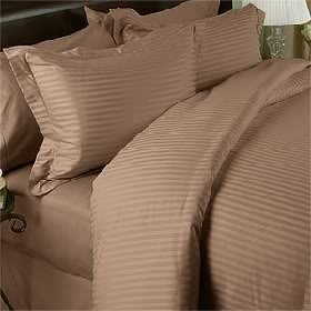 Taupe Stripe Queen Size Bed Sheet Set - 300 Thread 100% Egyptian Cotton [Fitted Sheet + Flat Sheet + 2 pillowcases]