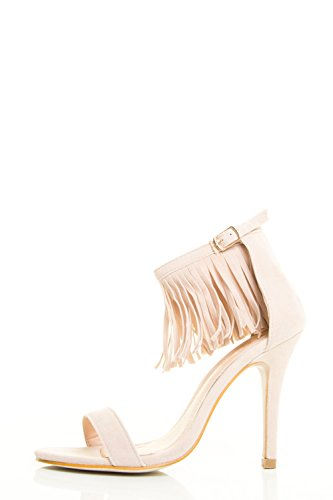 Chase & Chole Womens Open Toe High Stiletto Fringe Ankle Strap Cuff Pump Sandal Nude sOYKwn