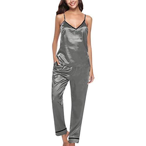 YOcheerful Women's Sleepwears Long Sleeve Pants Pajamas Button Lapel Underwear Set Loose Solid Lingeries(Gray, 2XL)