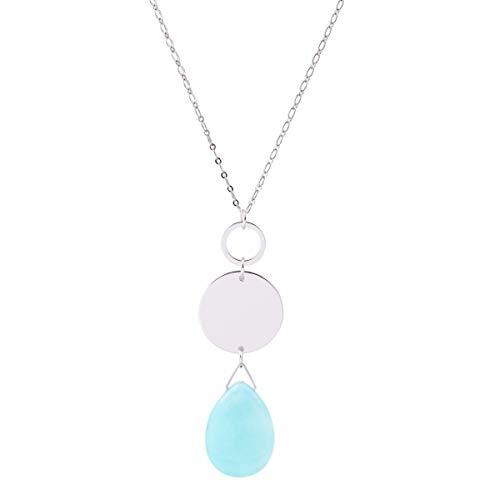 CONCISE ROYAL Light Blue Stone Pendant Long Neckalce for Women Girls