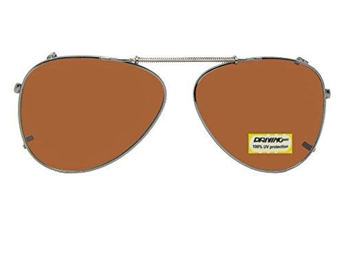 Aviator Non Polarized Amber Lens Clip On Sunglasses (Pewter-NON Polarized Amber Lens, 58mm Width x 47mm - Clip On Aviators