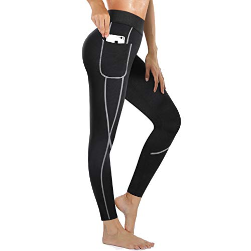 Rolewpy Women Sweat Sauna Weight Loss Hot Neoprene Pants Workout Fat Burner Thermo Slimming Leggings with Side Pocket (Black, Medium (US 10)) (Best Sauna Suit To Lose Weight)