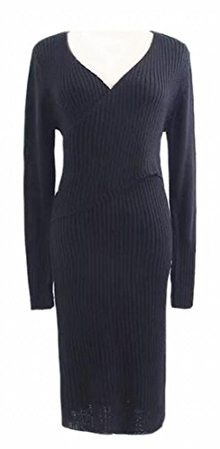 Generic Women Long Sleeve V Neck Bodycon Ribbed Knitted Sweater Mini Dress Blue XL