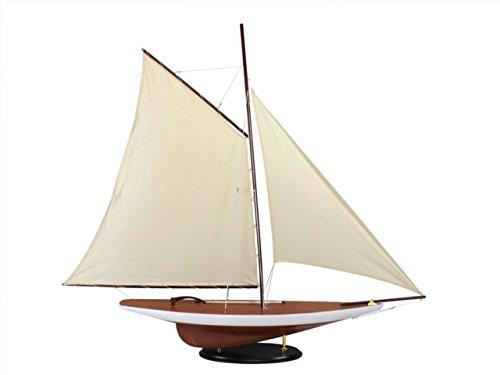 Hampton Nautical  Decorative Wooden Americas Cup Contender Model Sailing Yacht 50