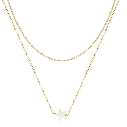 - LOYATA Layered Choker Necklace, 14K Gold Plated Bohemia Multilayer Chain Necklace Lucky Star Shell Pendant Necklace for Women Girls (Star)