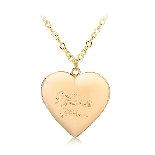 Photo Engraved Heart (Love Heart Locket Pendant Necklace Engraved