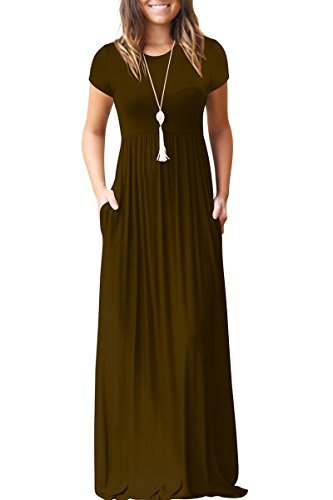 - Jennyarn Womens Round Neck Summer Dress Plain Empire Waist Maxi Long Dresses Khaki XL
