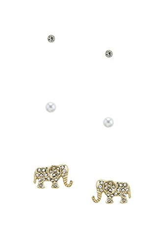 KARMAS CANVAS CRYSTAL LINED ELEPHANT EARRING SET - Roberto Coin Elephant Jewelry Set