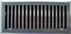 """6"""" X 14"""" Brushed Nickel Contemporary Floor Register / Vent Cover"""