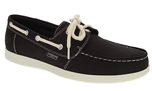 - London Fog Mens Harrow Boat Shoe Black/Denim 8.5