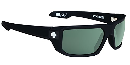 Spy Optic McCoy Flat Sunglasses, Soft Matte Black/Happy Gray/Green, 63 - Green Sunglasses Spy