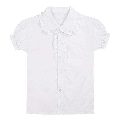 Girls Puff Top Sleeve - Freebily Fashion Teens Girls Short Puff Sleeves Tops School Uniform Blouse White 7-8