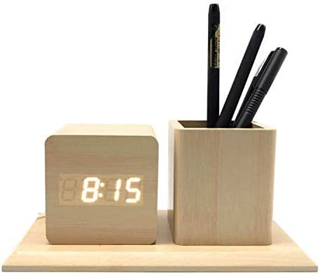 Lazy Trouble Creative Mute Sound Control Brightness Automatic Multifunctional Wood Pen Alarm Clock, Wooden