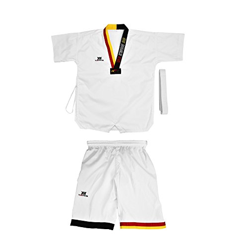 Alomejor Taekwondo Uniform Full Cotton Short Sleeves with White Waist Belt Karate Costume for Adults & Kids(170)