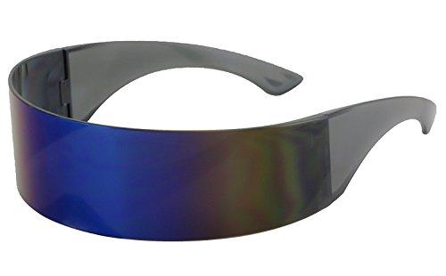 Elite - Futuristic Wrap Around Monoblock Cyclops Shield Sunglasses (Blue (Metallic Wrap Around Sunglasses)