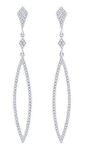 Rount Shape White Natural Diamond Pave Open Arrow-Stiletto Dangle Earring in 14K White Gold (0.40 Ct)