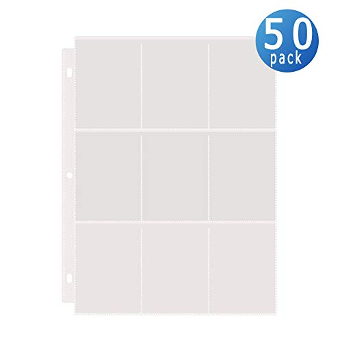 Toupeone 9-Pocket Baseball Card Sleeves Trading Card Page Protectors (50 Pages)