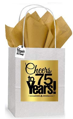 75th Cheers Birthday/Anniversary White and Gold Themed Small