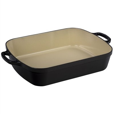 Le Creuset Signature Enameled Cast Iron Rectangular Roaster, 5.25 quart, Black