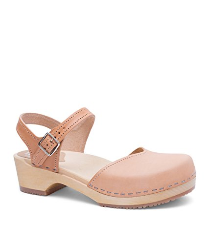 (Sandgrens Swedish Wooden Low Heel Clog Sandals for Women | Saragasso Nude Veg, EU 39)
