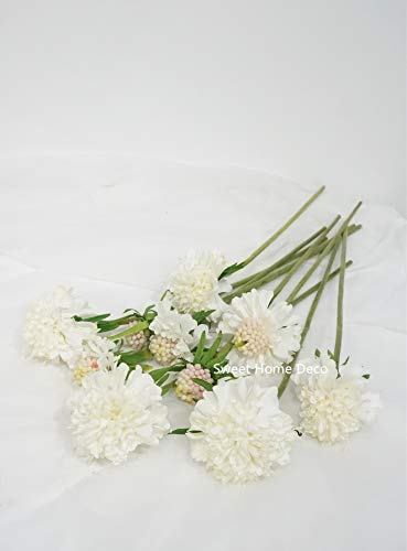 Sweet Home Deco 13'' Silk Mums Bunch of 10 Single Stems Flower Designs Craft Flowers - Sweet Mum