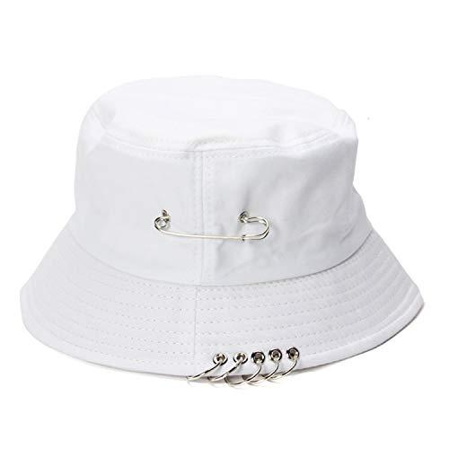 f5d5949d46d927 ... 2019 Wild Iron Ring Pin Harajuku Foldable Men and Women Fisherman Hat  Bucket Hats Basin Caps ...