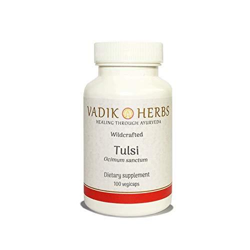 Certified Organic Vadik Herbs Tulsi (Ocimum tenuiflorum) Powder | Supplement for Fighting Acne Balances Hormones and Lowers Stress, Best Source of Vitamin K (100 Vegicaps)