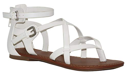 MVE Shoes Women's Gladiator Flat Sandals - Slim Strappy Ankle Buckle -Summe Tie up Flats Sandals, Perfect White pu 5.5
