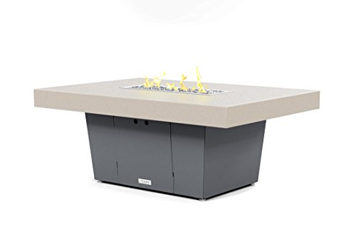 COOKE Palisades Rectangular Fire Pit Table - 52x36 - Chat Height - Propane - Beige Powdercoat Top with 6cm Edge - Grey Texture Powdercoat Base