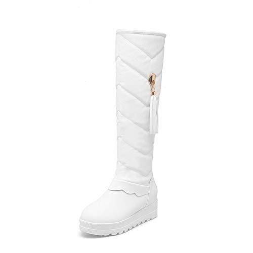 AGECC Winterstiefel Stiefel Frauen Runden Kopf High Heel Anti-Rutsch Dicken Boden Und Erhobenen Quasten Warme Stiefel.