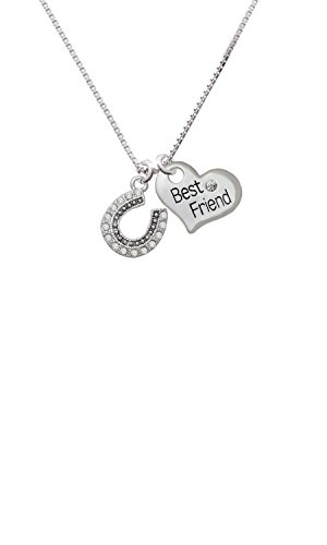 Beaded Clear Crystal Horseshoe with Good Luck - Best Friend Heart Necklace
