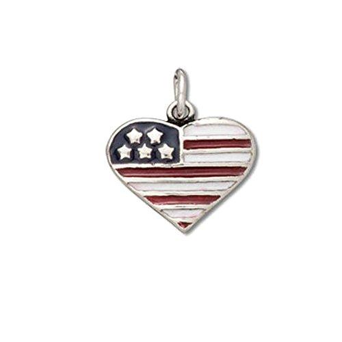 Sterling Silver Enamel America Flag Heart Charm Item #53071 United States Charm
