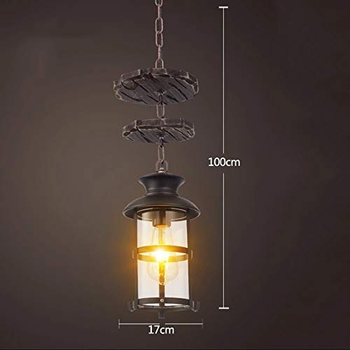 Chandelier Retro Vintage Industrial Candle Chandelier Antique Wooden Wrought Iron Ceiling Decorative Hanging Lamp Complete with Glass Lampshade Edison Bulbs Pendant Light E27 (Color : B) ()