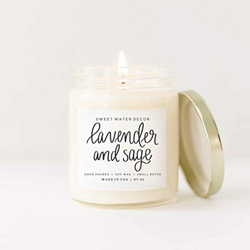 Lavender and Sage Natural Soy Wax Candle | Lime Fern Leaves Dill Moss Musk Pine Patchouli Ginger Spa Scented Country Modern Rustic Farmhouse Decor Lead Free Cotton Wick Housewarming Gift -
