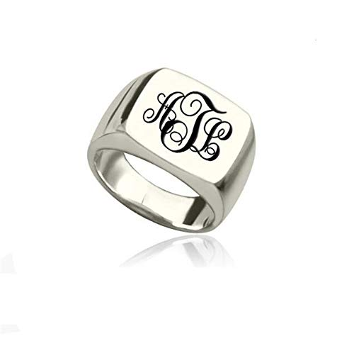 WEIEG Personalized 925 Sterling Silver Signet Ring with Monogram Gift Mother-Daughter Promise Ring for Her(Type 2-13)