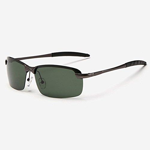 WYYY Clásico UV Protección Color Polarizada Gafas Black Aire Marco Medio Gafas Luz Solar Protección Libre Hombres green De Green Gafas Gray De Sol UVA Retro 100 Conducción Anti rr1gnqaw