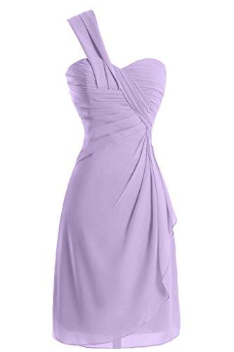 sunvary a-line One-Shoulder Ruched gasa cóctel vestidos Homecoming lila