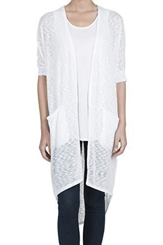 9016 Women's Short Sleeve Open Front High Low Lightweight Long Cardigan OFFWHITE S ()