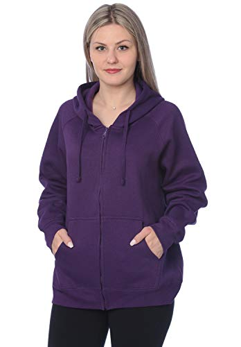 Womens Sweatshirt Plus Size Heavyweight Active Fleece Full Zip-Up Hoodie WF03_Y18 Purple 2X