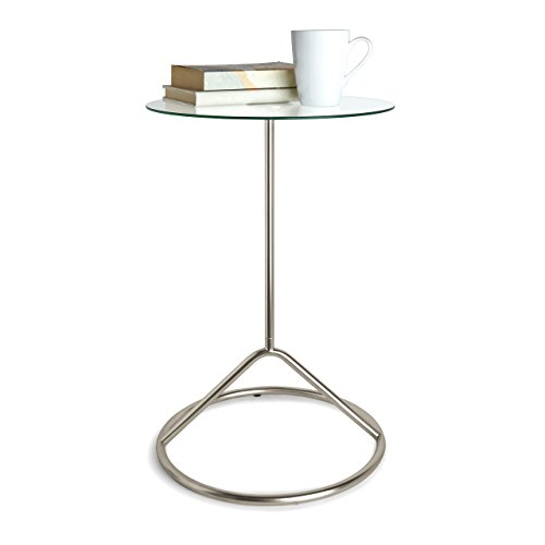 (Umbra Loop Side Table, Glass and Nickel Side Table, Glass Tabletop Side Table, Glass and Nickel)