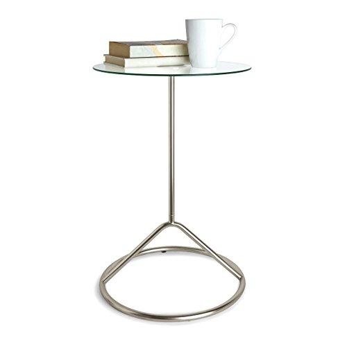 Umbra Loop Side Table, Glass and Nickel Side Table, Glass Tabletop Side Table, Glass and Nickel (Side Nickel Table)