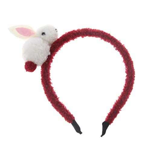 Kimnny Rabbit Ears Headband, 1 Piece Kids Cute Rabbit Headbands Hairband Animals Plush Rabbit Ears Headwraps Girls Hair Accessories Wine Red