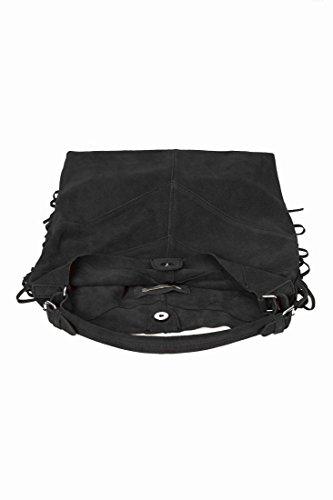 Secchiello pezzi BEA, Borsa pelle di camoscio & frange 17074662 BLACK
