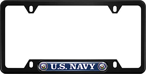 USA Patriotic Anodized Aluminum Thin Top | Narrow Top Car License Plate Frame with US Navy Department Insert with Free caps - Black ()