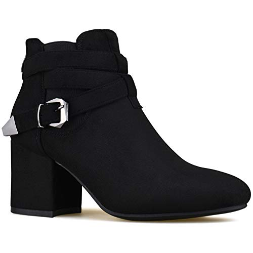 Buckle Boot Casual Black Standard Walking Bootie Comfortable Low Strappy Toe Premier Heel Women's Suede Closed Premier 7AqtqwC