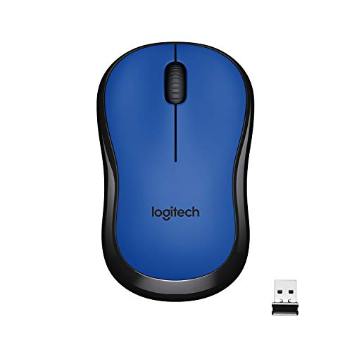 Logitech M221 Wireless Mouse, Silent Buttons, 2.4 GHz with USB Mini Receiver, 1000 DPI Optical Tracking, 18-Month Battery Life, Ambidextrous PC/Mac/Laptop – Blue