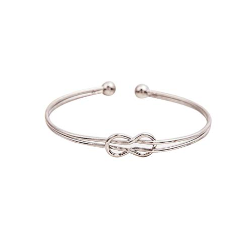 Women Bangle Metal Geometric Cuff Bracelet Wrist Rope Chain Charm Open Hollow Bracelet Bangle Jewelry (silver) ()